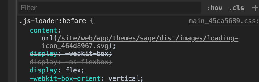 Svg pulled in via css ::before not showing after build