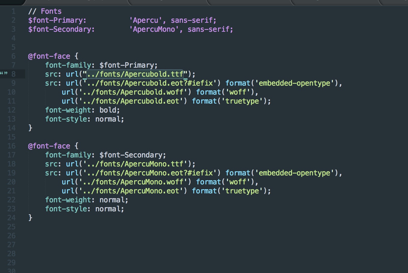 Cannot get @font-face to work with Sage/Sass - sage - Roots